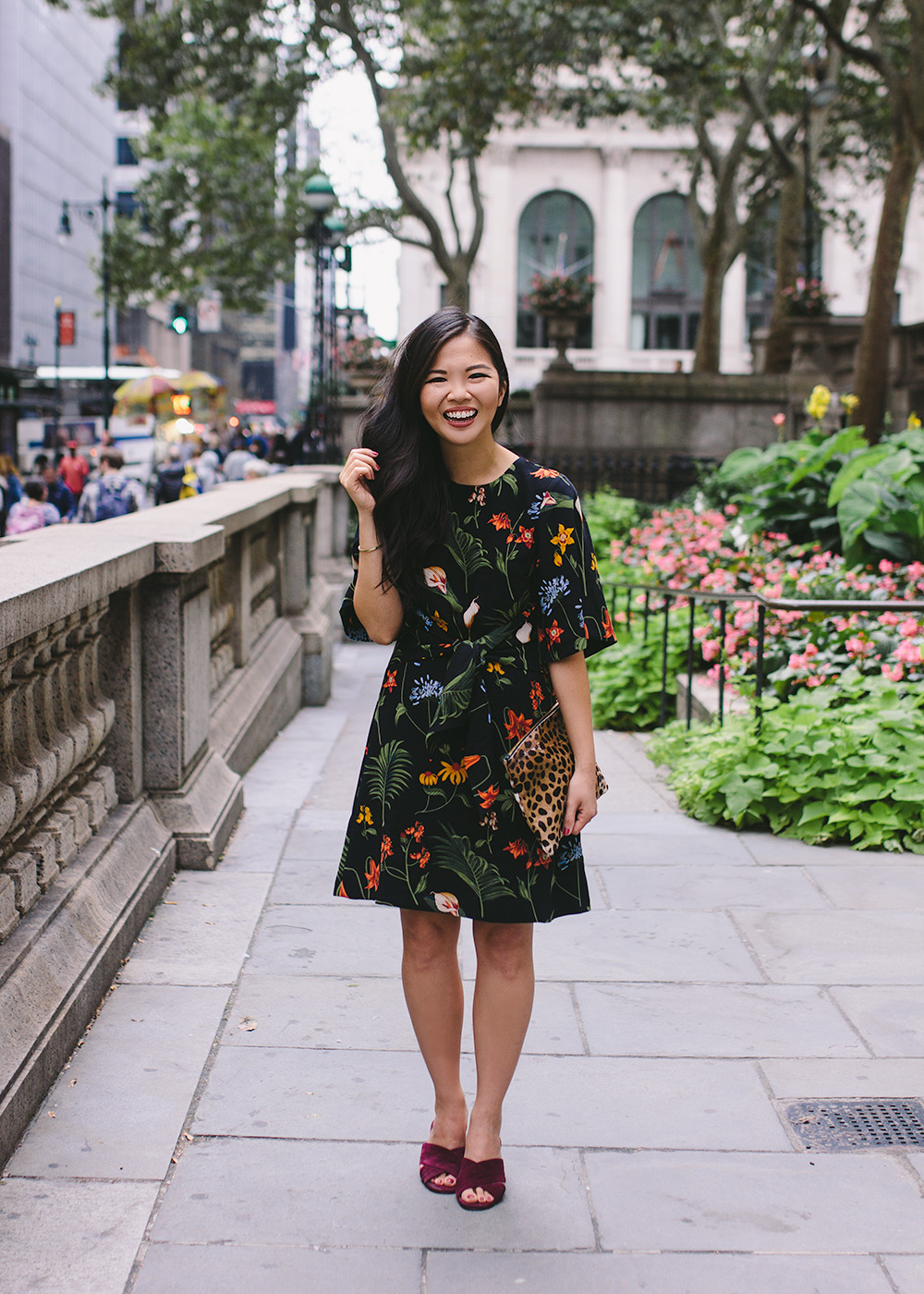 Black Floral Print Dress & Leopard Clutch