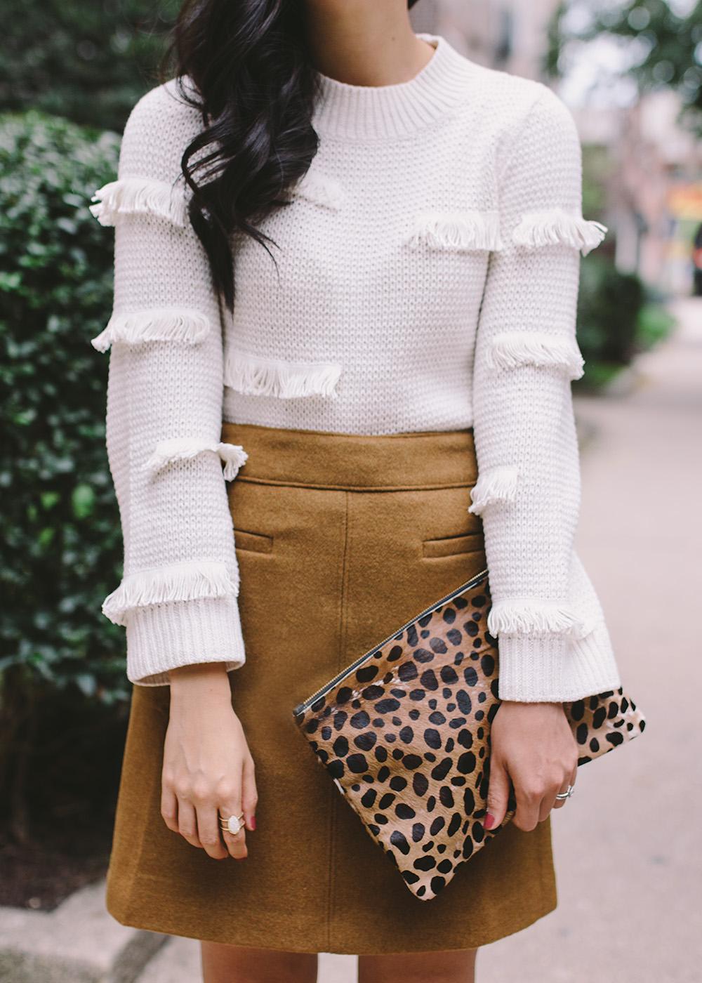 What to Wear Fall 2018 / Fringe Sweater & Camel Mini Skirt