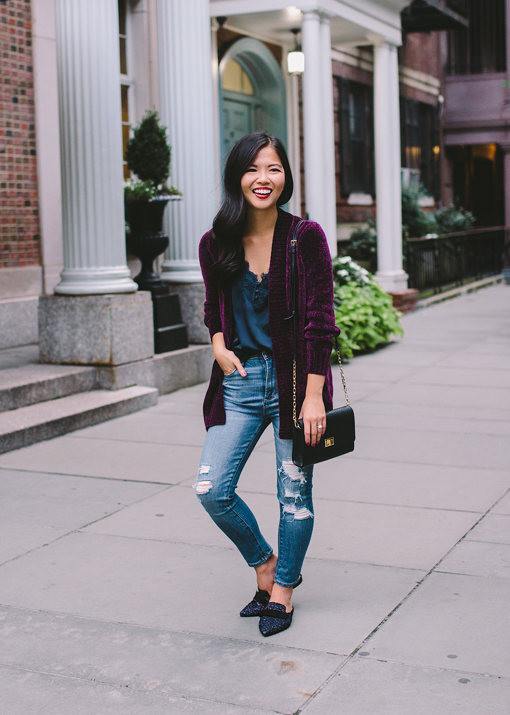 Women's Fall Fashion Trends / Chenille Cardigan & Tweed Loafers
