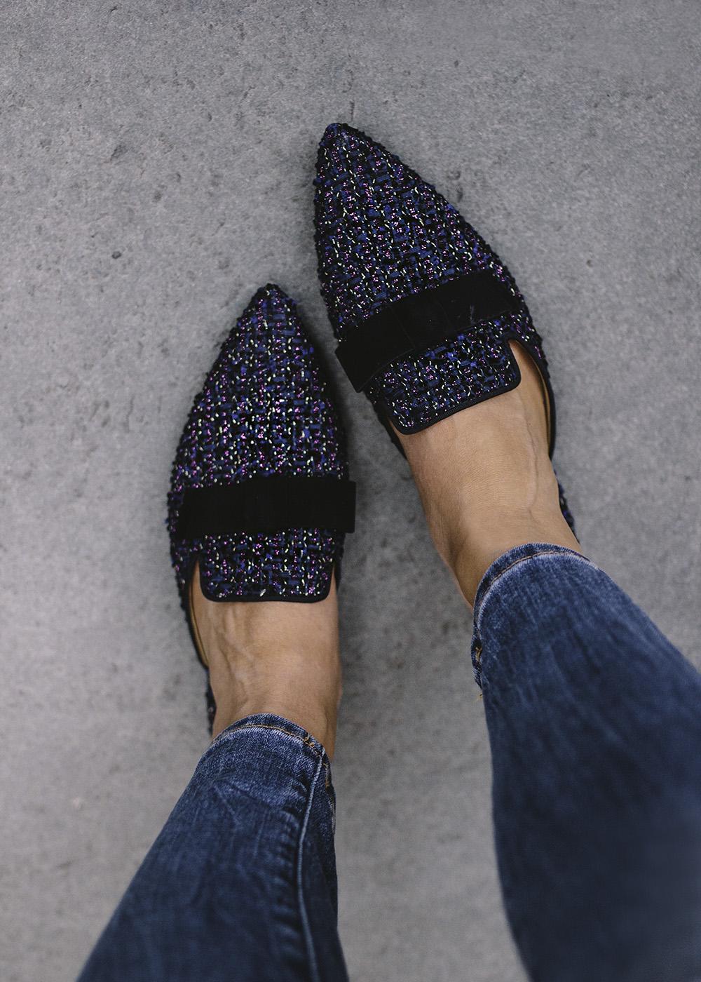 Fall Fashion / Black & Navy Tweed Slides