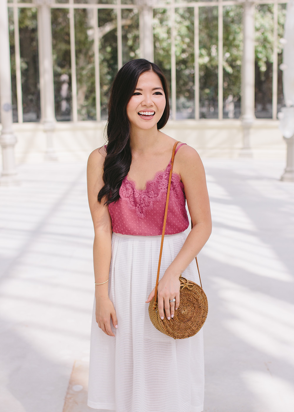 Vacation Style Inspiration / Pink Lace Cami & White Skirt