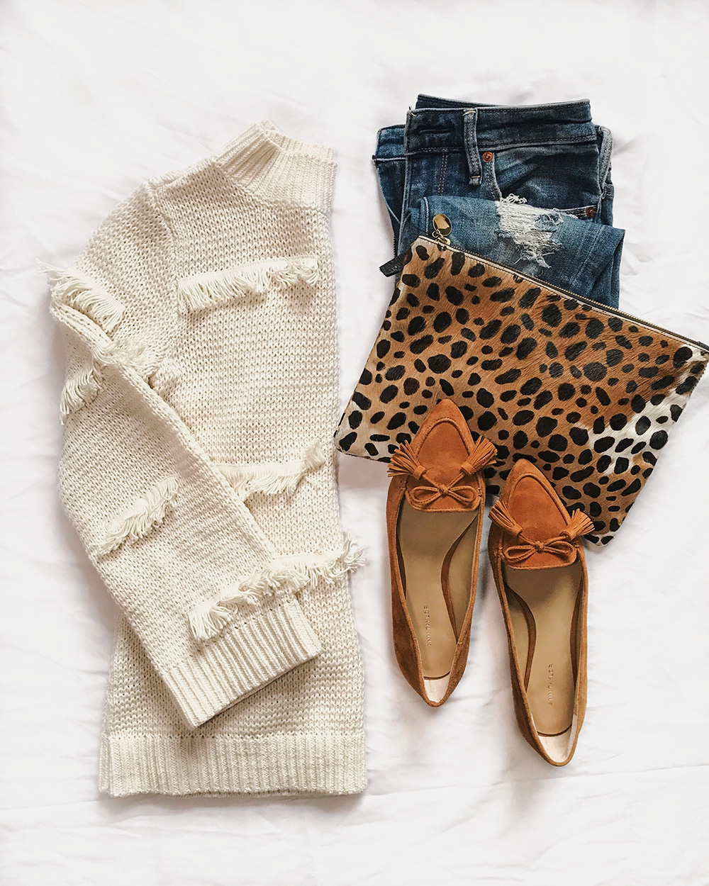 Fall Fashion Flatlay / Fringe Sweater & Tassel Leopard