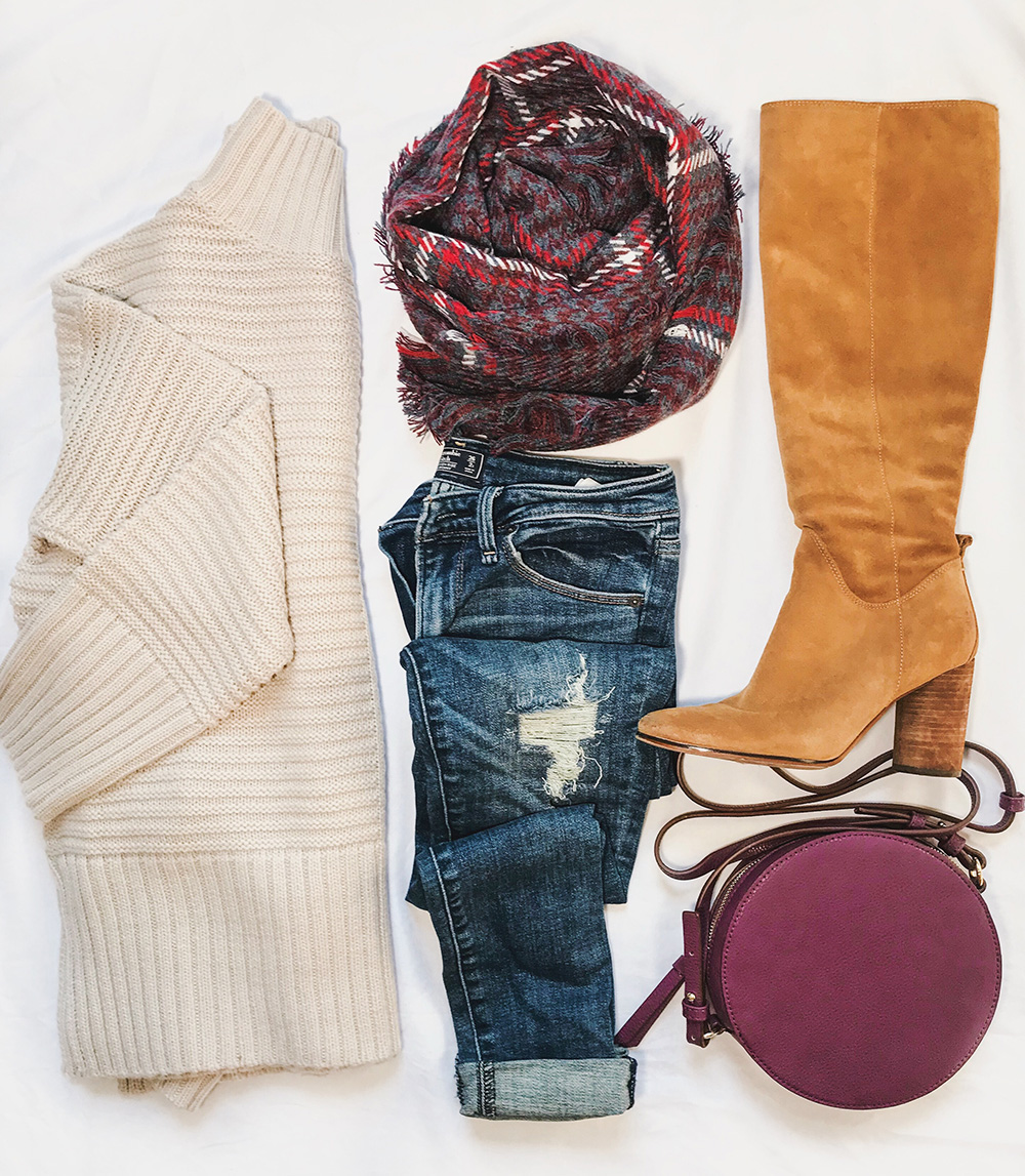 Fall Fashion Flatlay / Cream Sweater & Knee HIgh Boots
