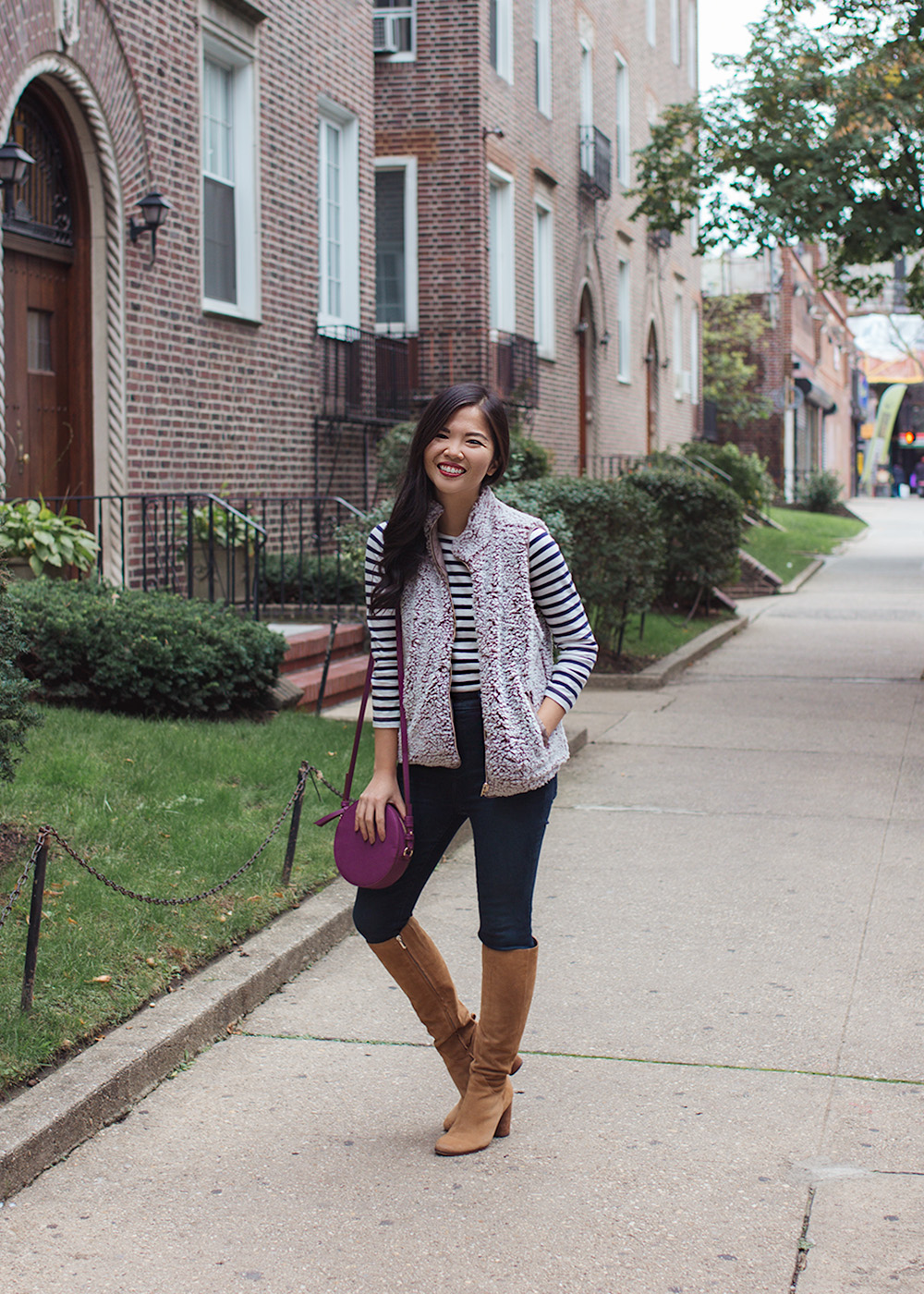 Preppy Fall Style / Fleece Vest & Knee High Boots