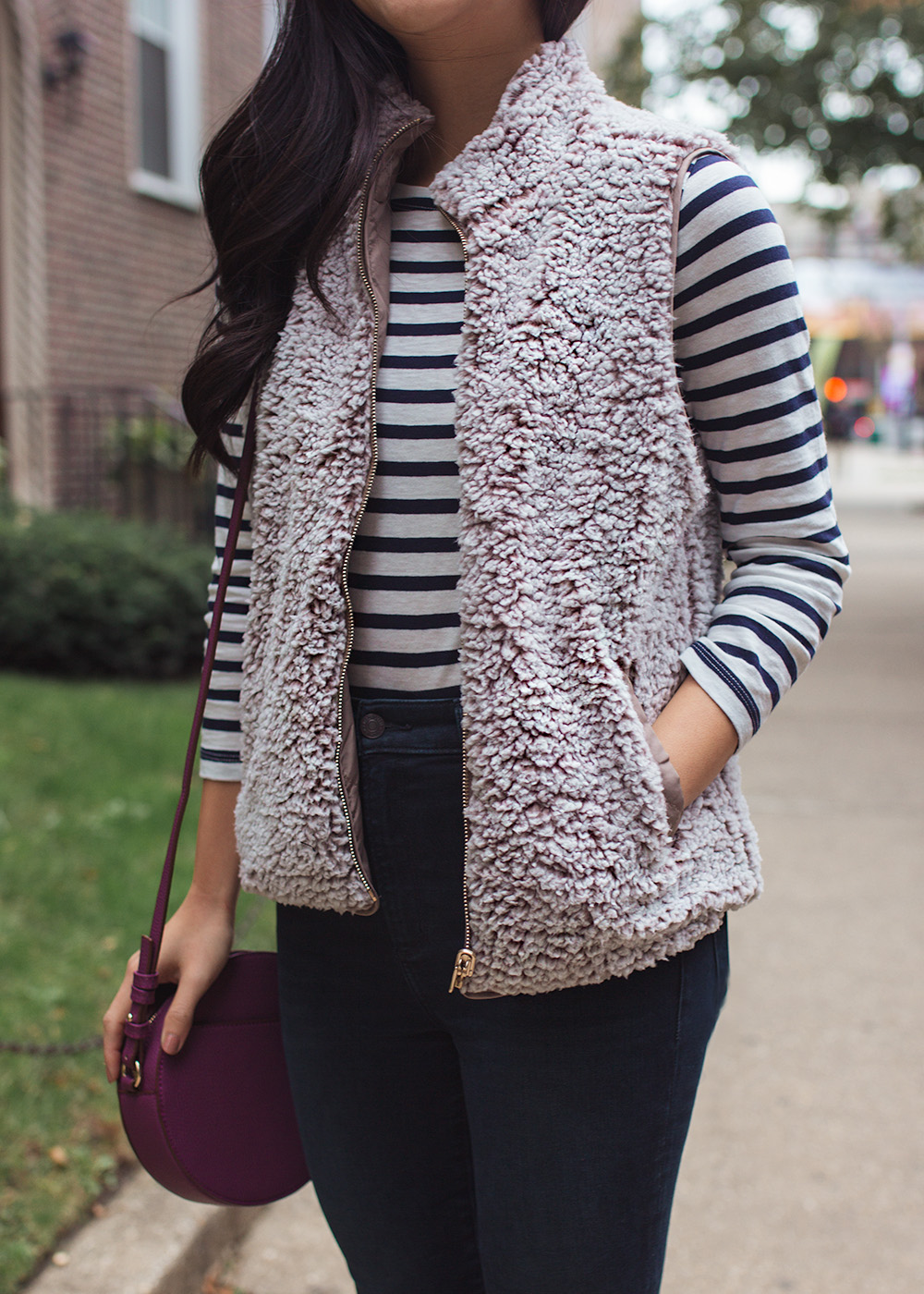 Fall Style Inspiration / Striped TEe & Fleece Vest