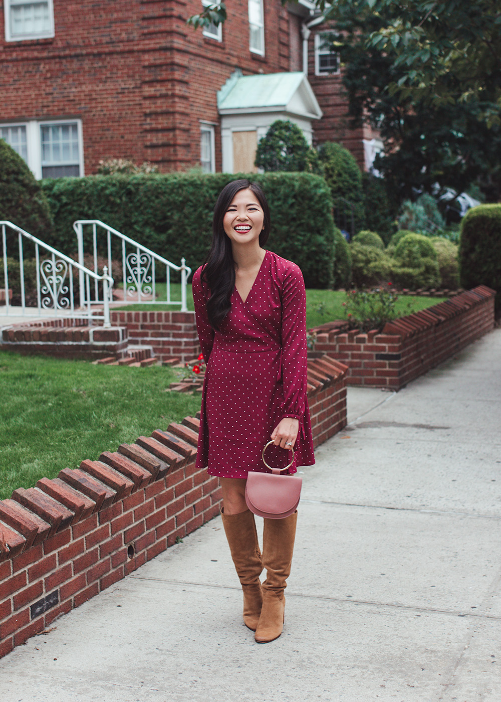 Fall Style / Wrap Dress & Brown Suede Boots