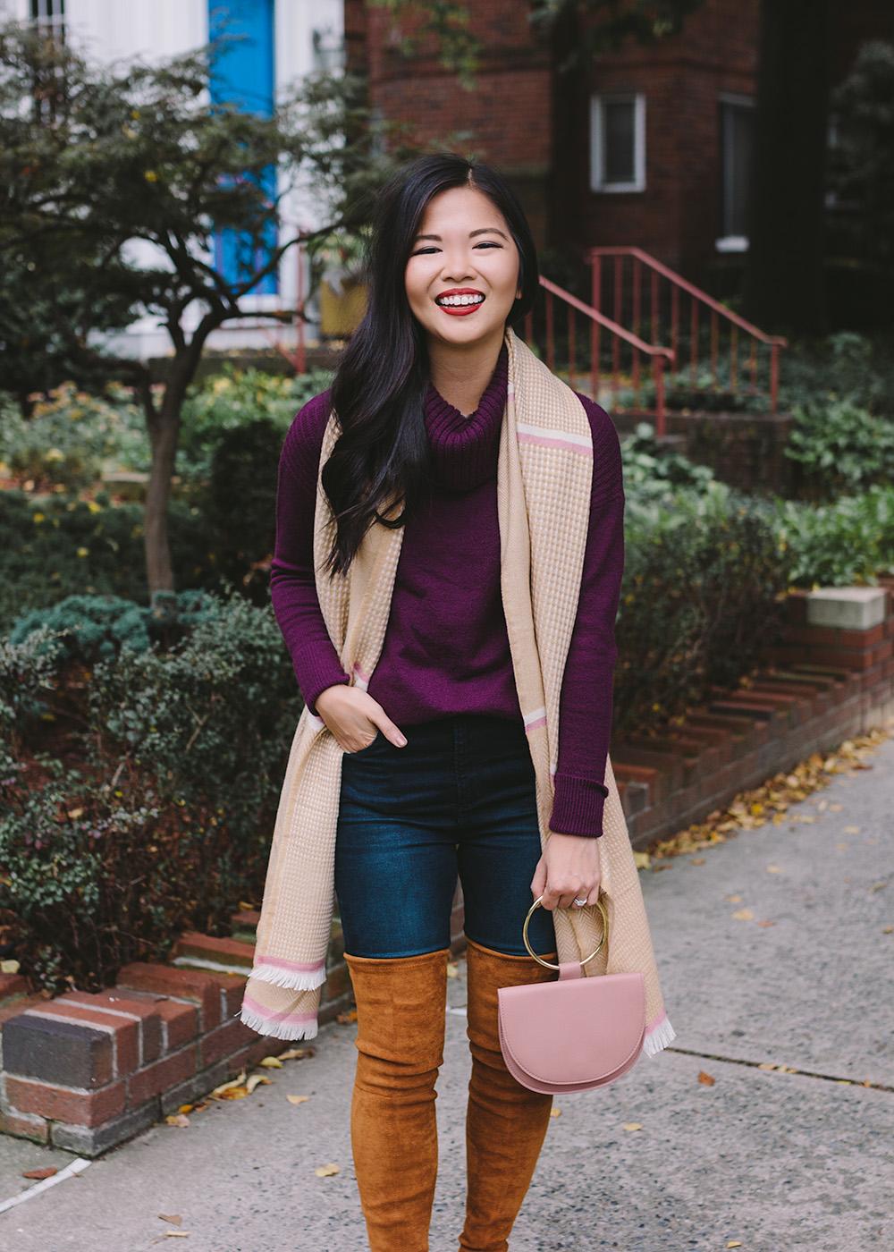 Fall Fashion 2018 / Turtleneck Sweater, Scarf & OTK Boots