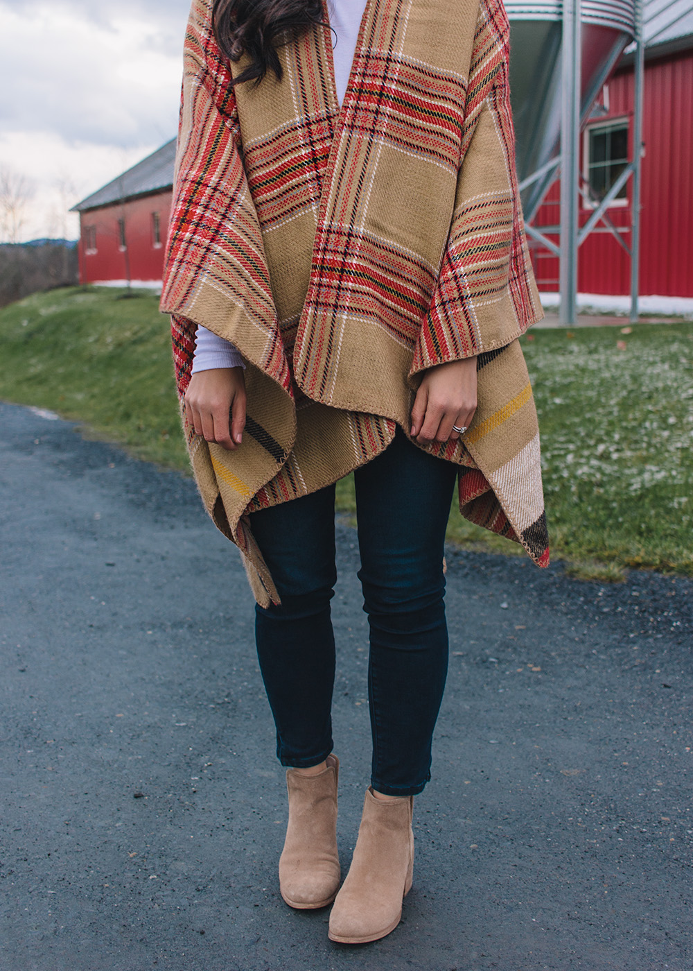 Red & Camel Plaid Poncho & Dark Wash Skinny Jeans
