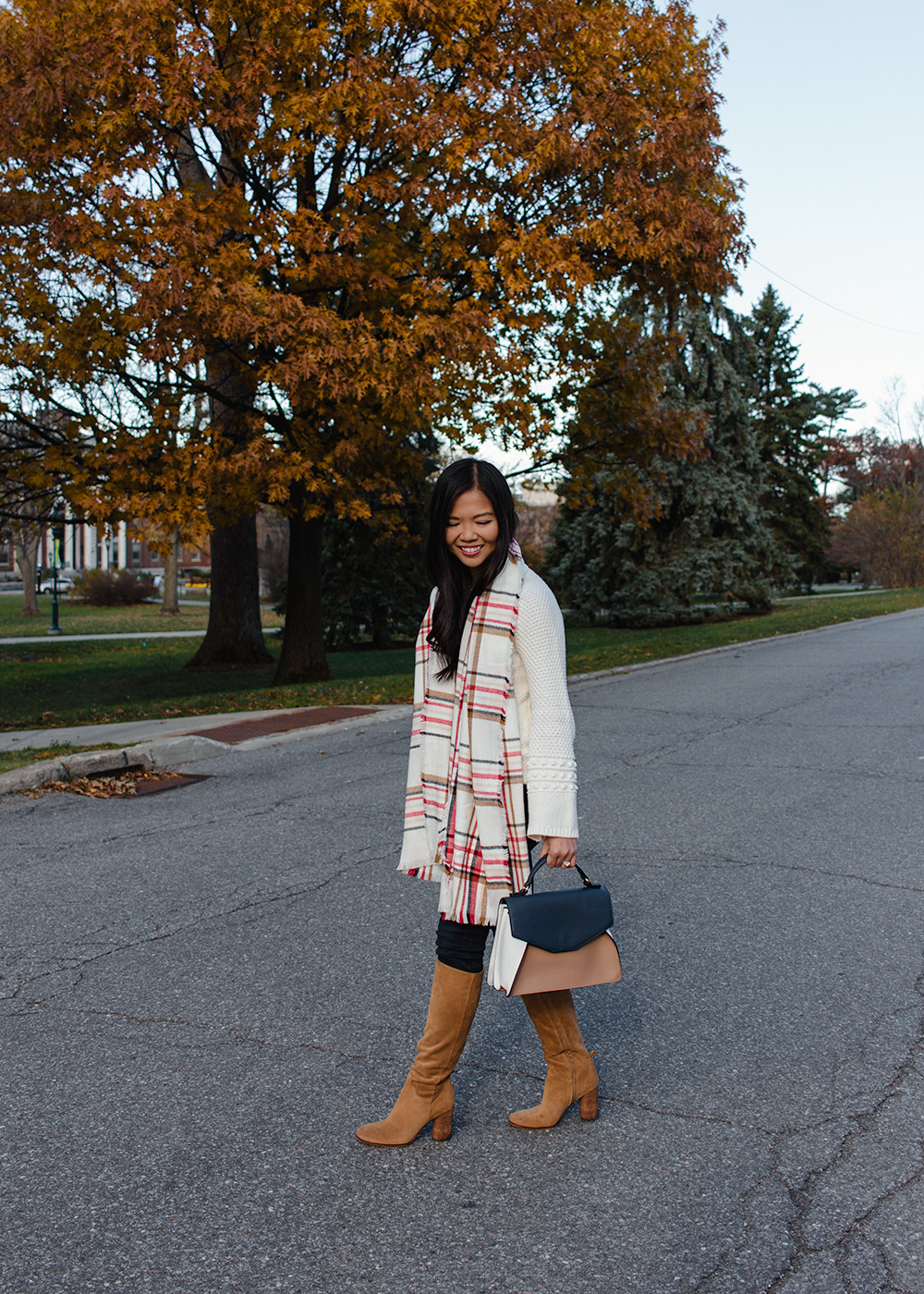 Fall Outfit Ideas / Plaid Scarf & Knee High Suede Boots