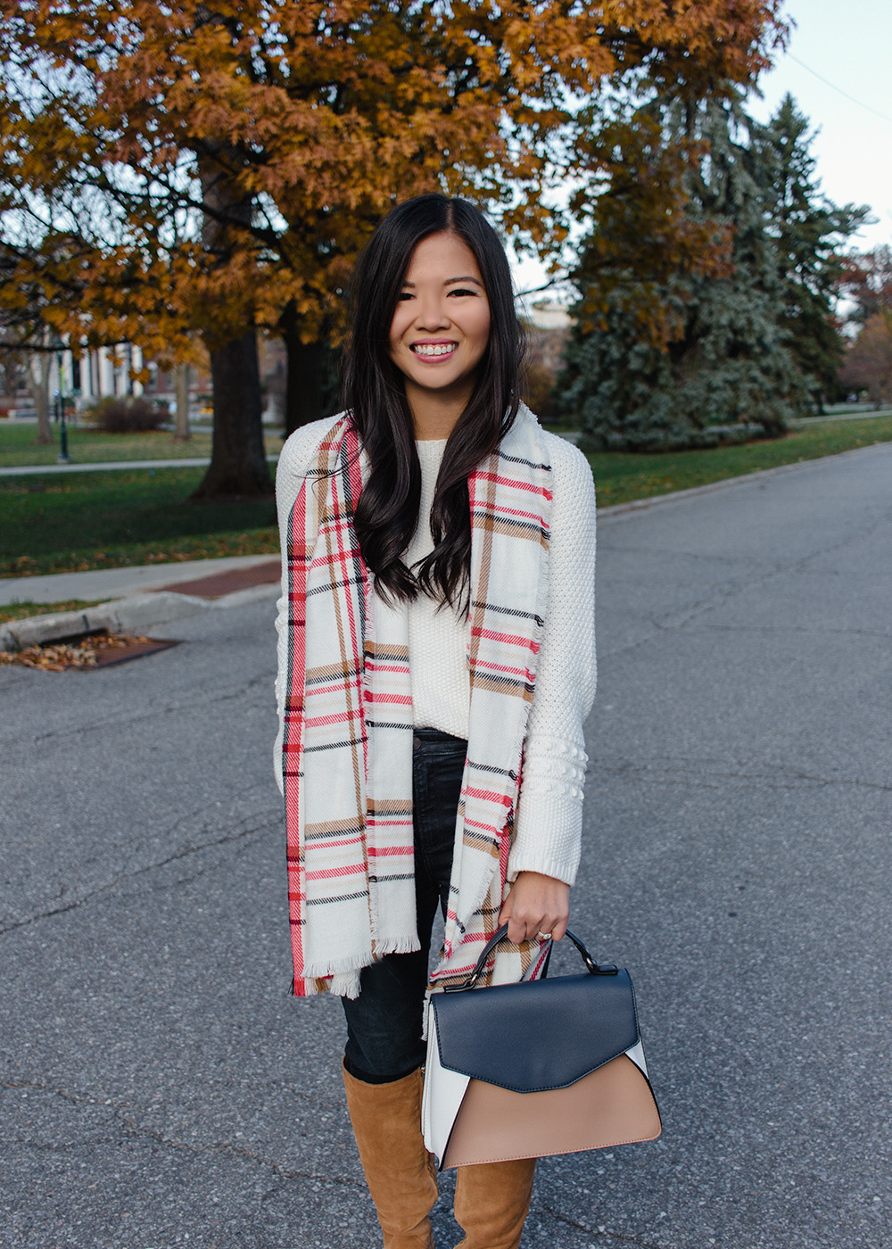Plaid Scarf & White Sweater