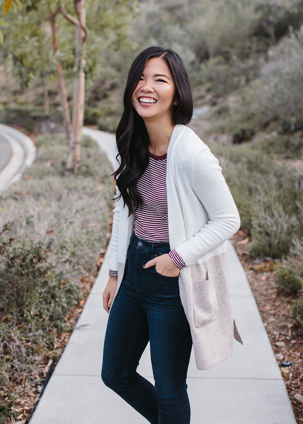 Neutral Casual Outfit Idea / Colorblock Cardigan & Striped Shirt
