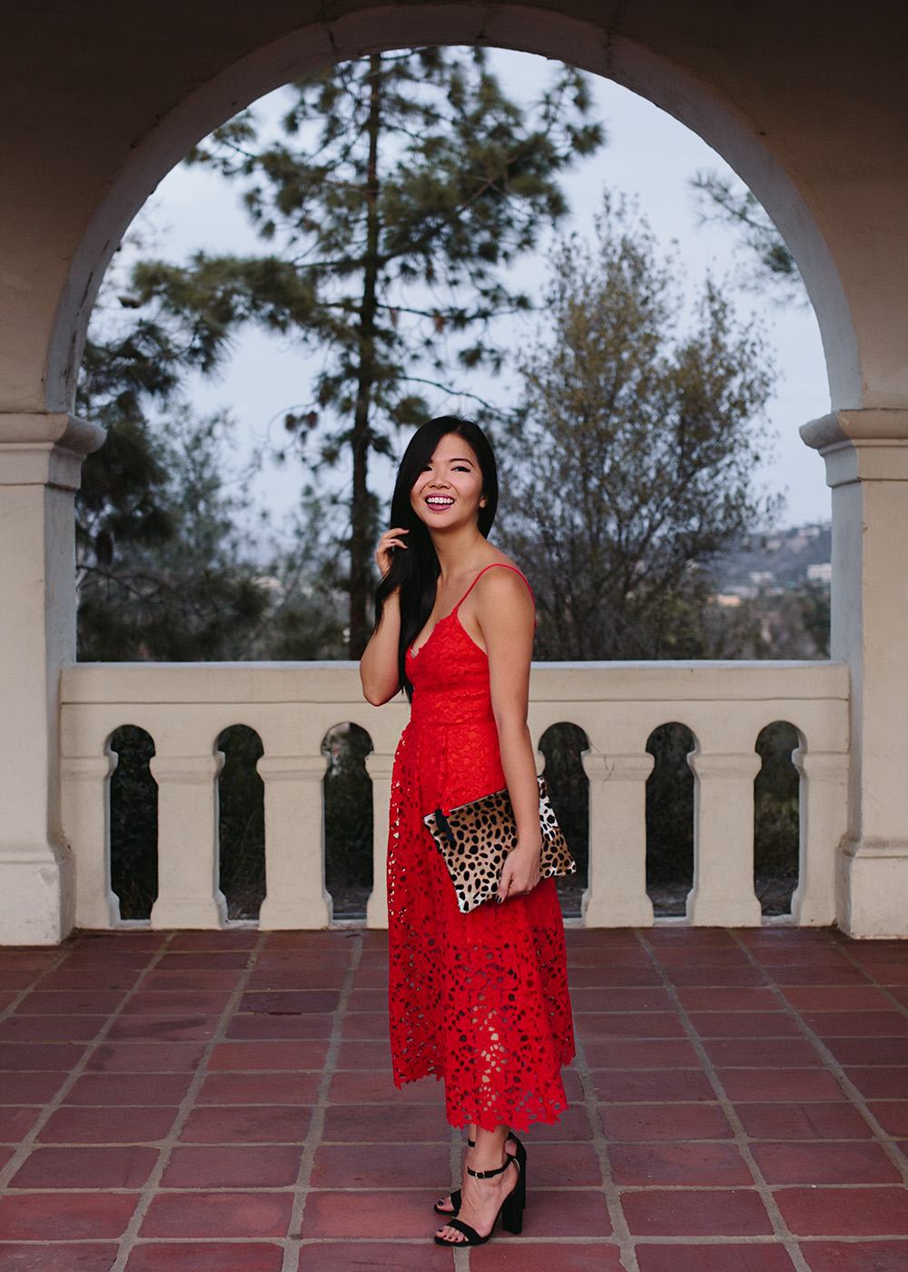 Holiday Outfit Idea / Red Lace Midi Dress