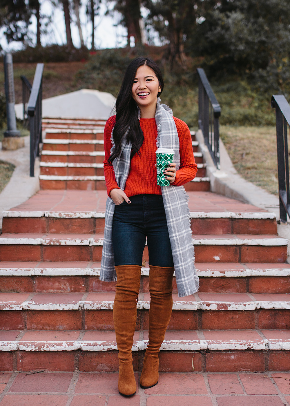 Red Sweater & Brown Over the Knee Boots