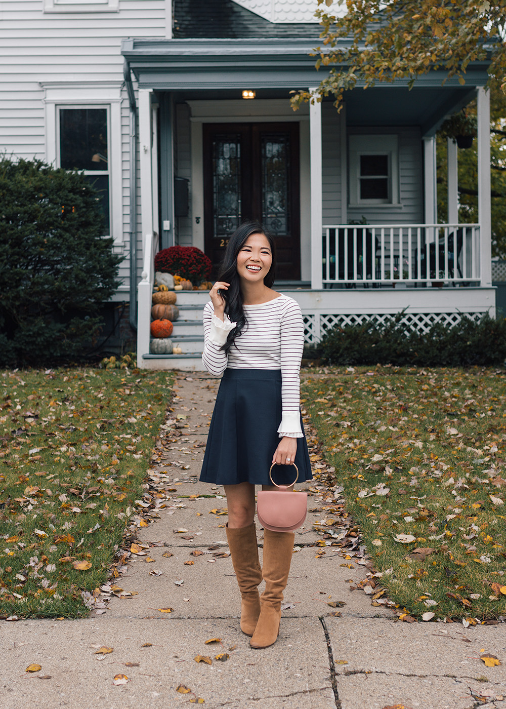 What to Wear for Fall / Striped Sweater & Navy Skirt
