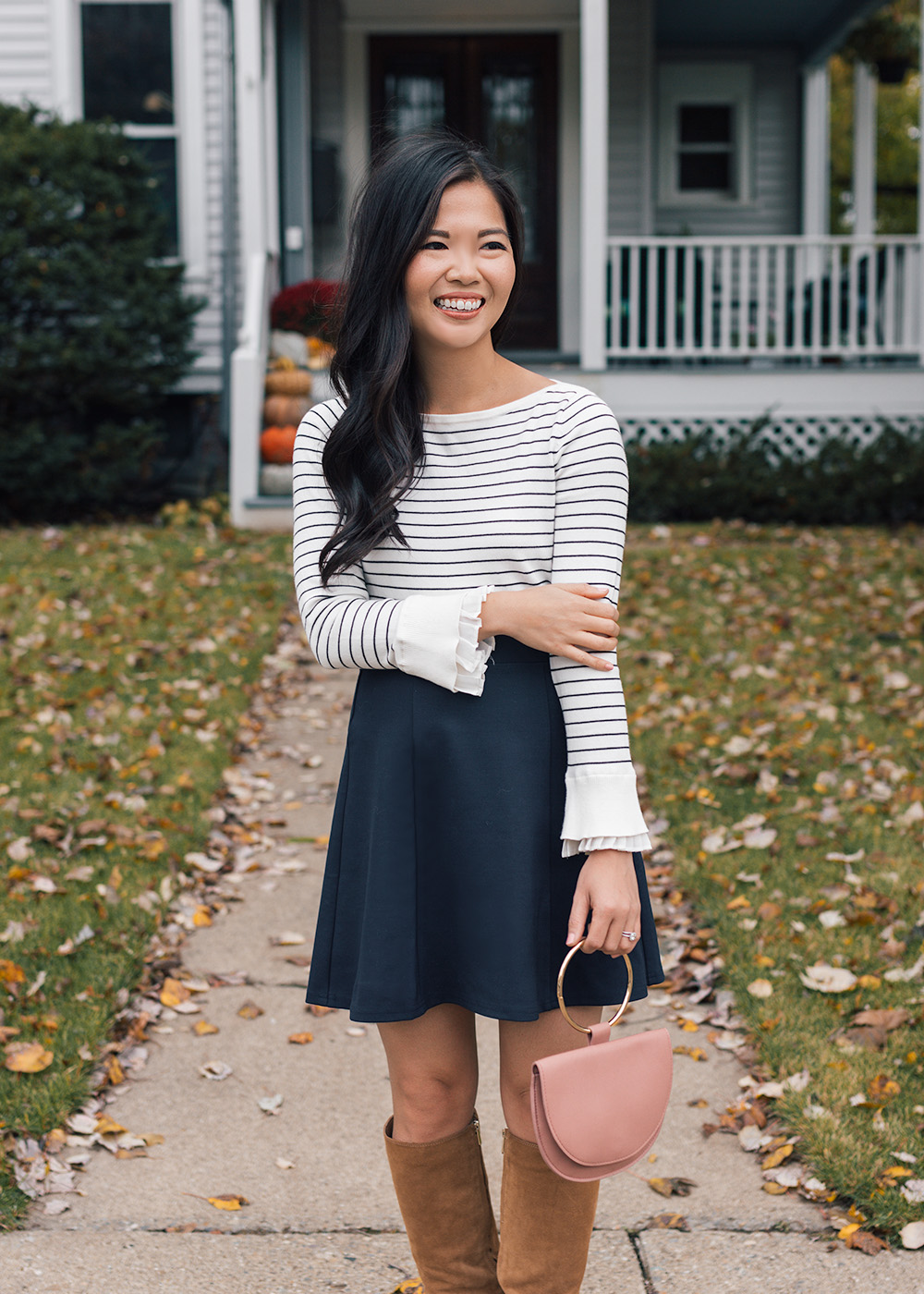 Fall Style Inspiration / Striped Sweater & Navy Skirt