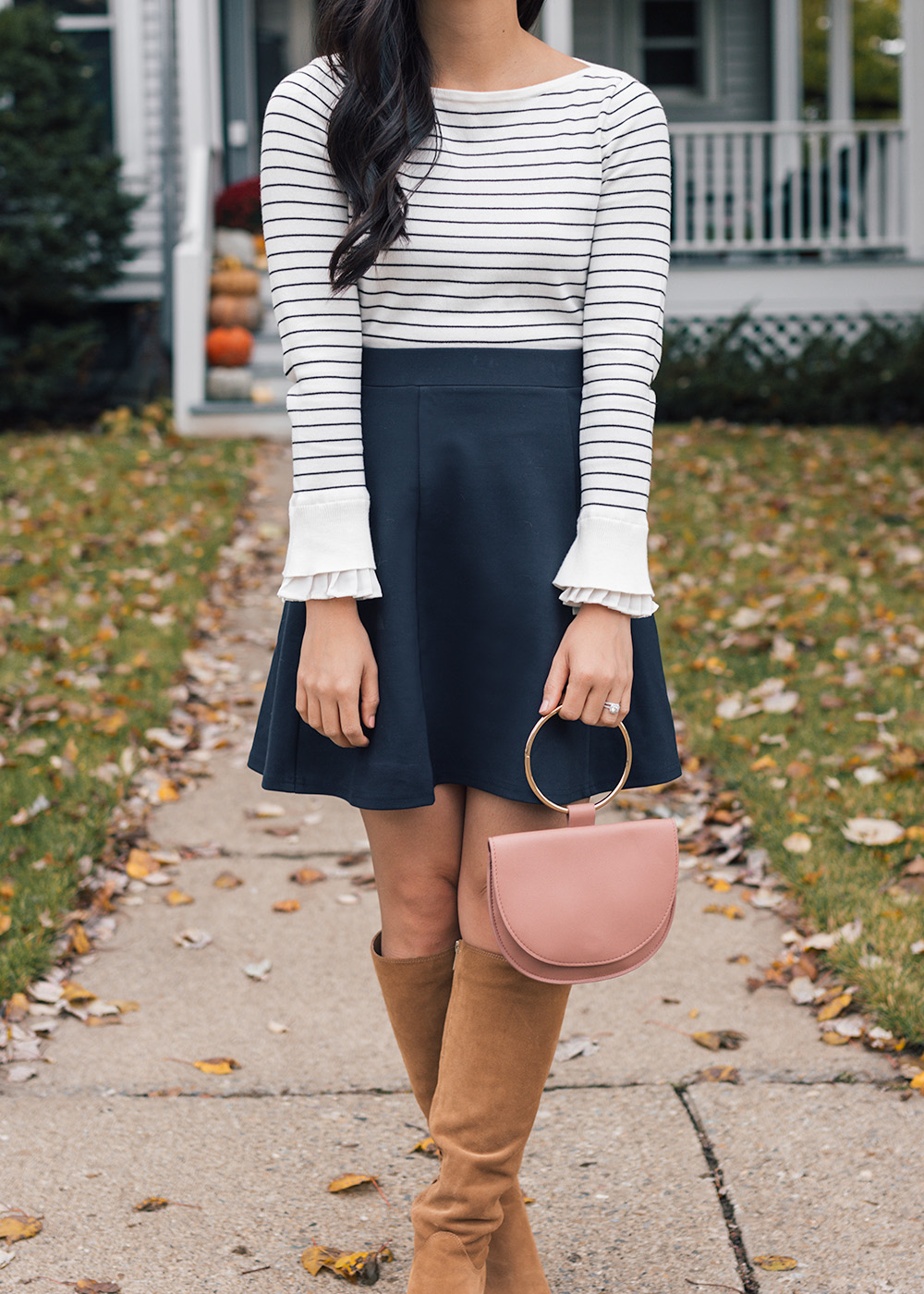 Striped Ruffle Sleeve Sweater & Navy Skirt