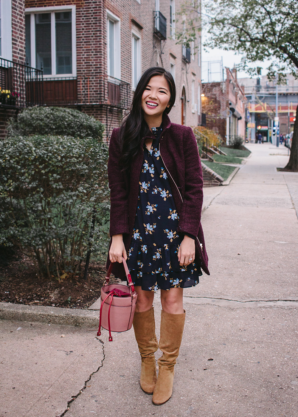 Thanksgiving Outfit Idea / Floral Dress & Knee High Boots