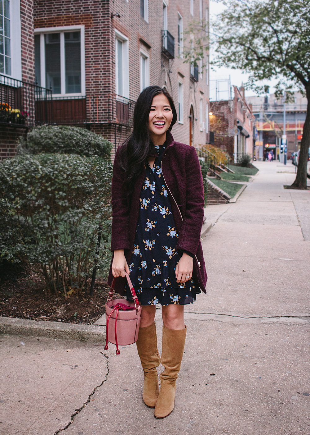 What to Wear for Thanksgiving / Floral Dress & Burgundy Coat