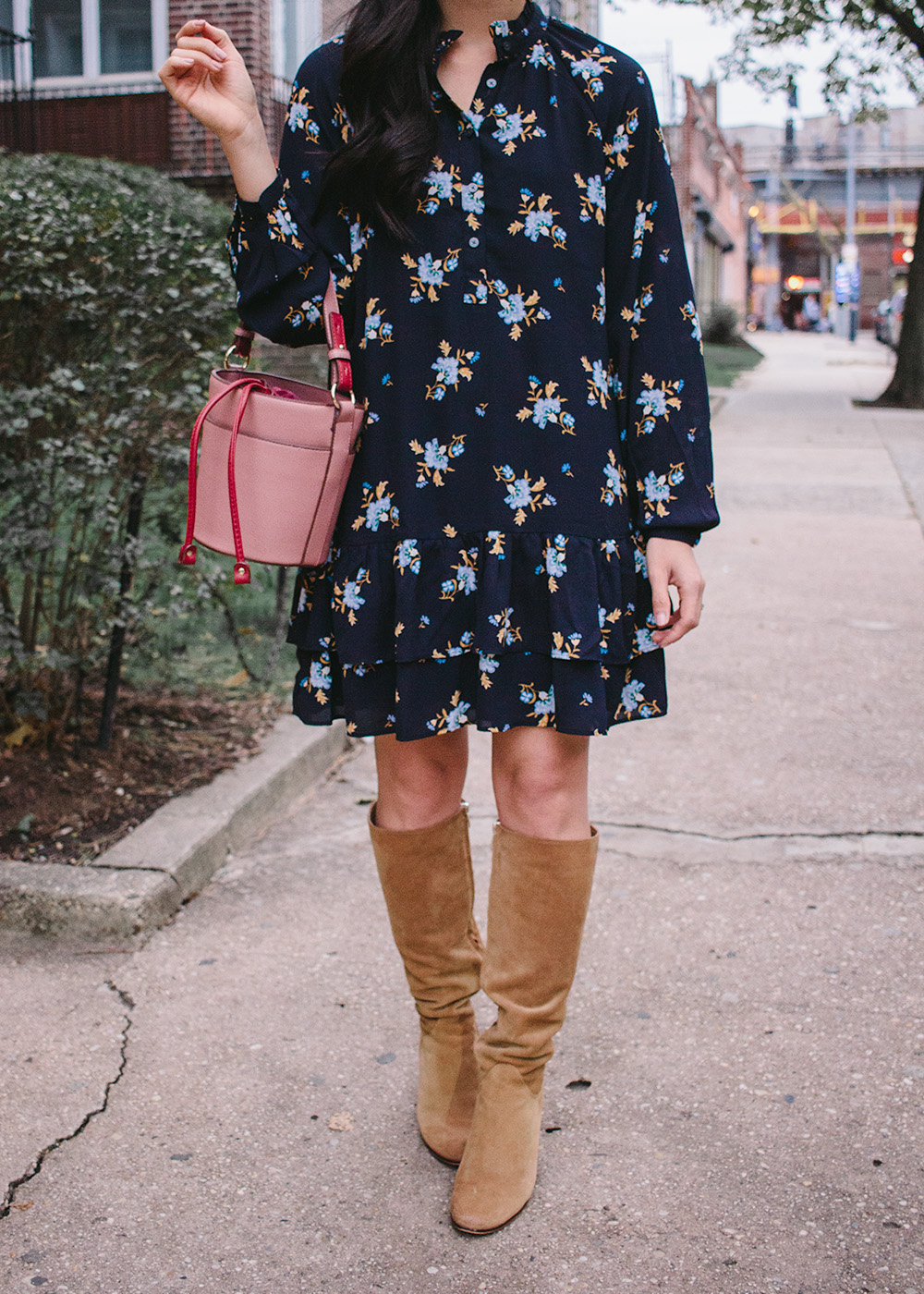 Long Sleeve Floral Dress & Brown Suede Knee High Boots
