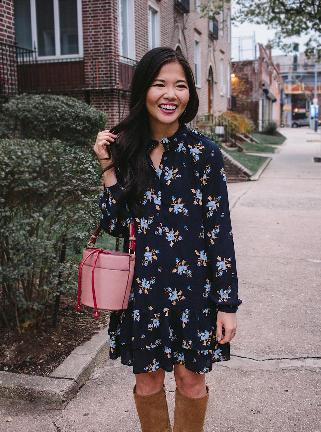 Fall Floral Dress & Pink Bucket Bag