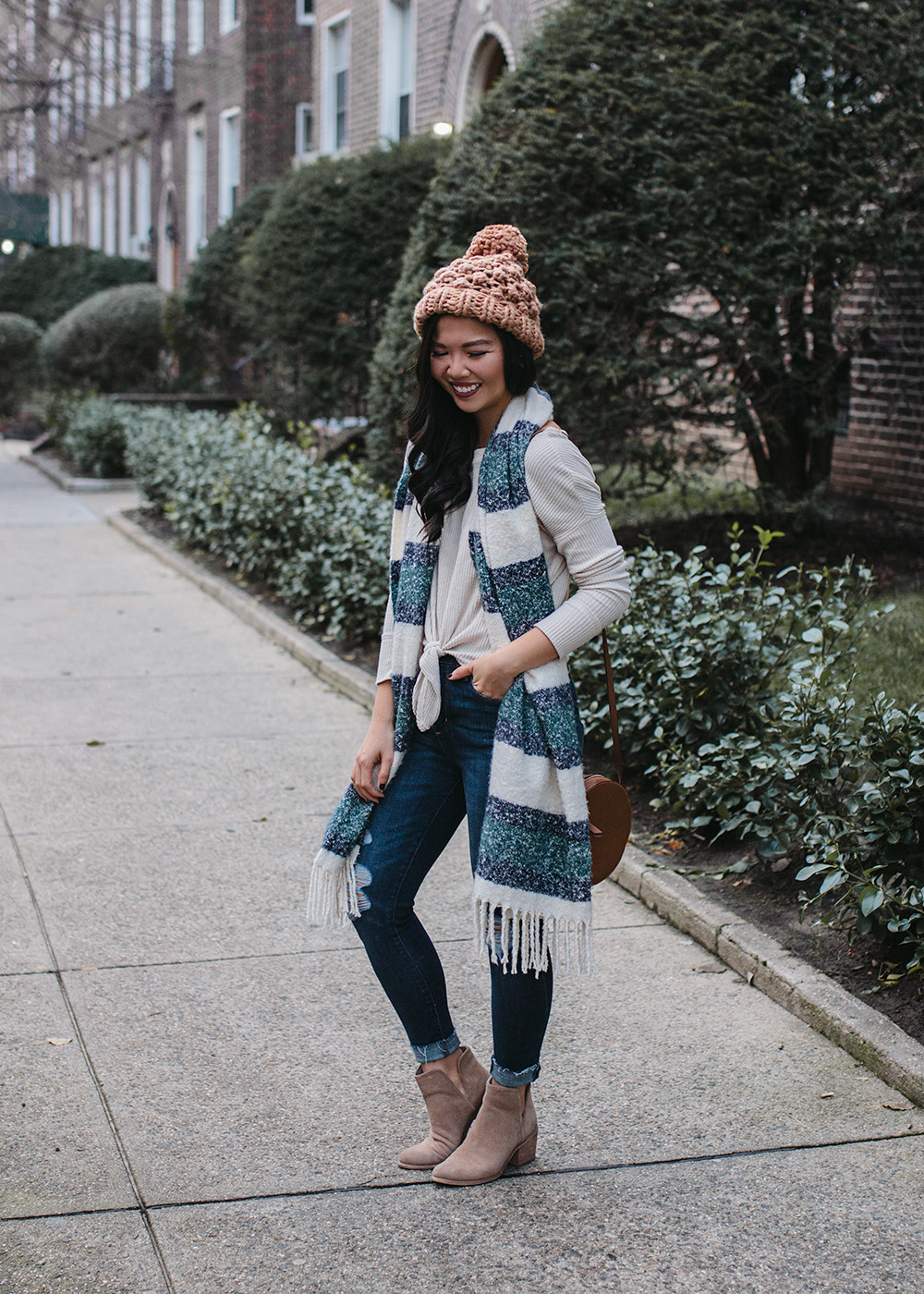 Winter Outfit Ideas / Green Striped Scarf & Skinny Jeans