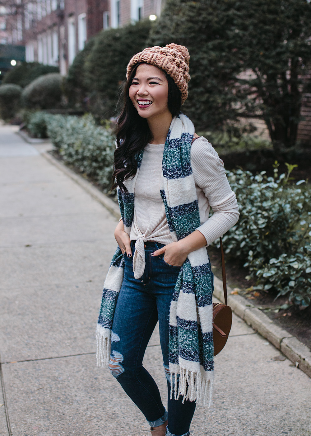Casual Winter Outfit / Striped Scarf & Chunky Knit Beanie