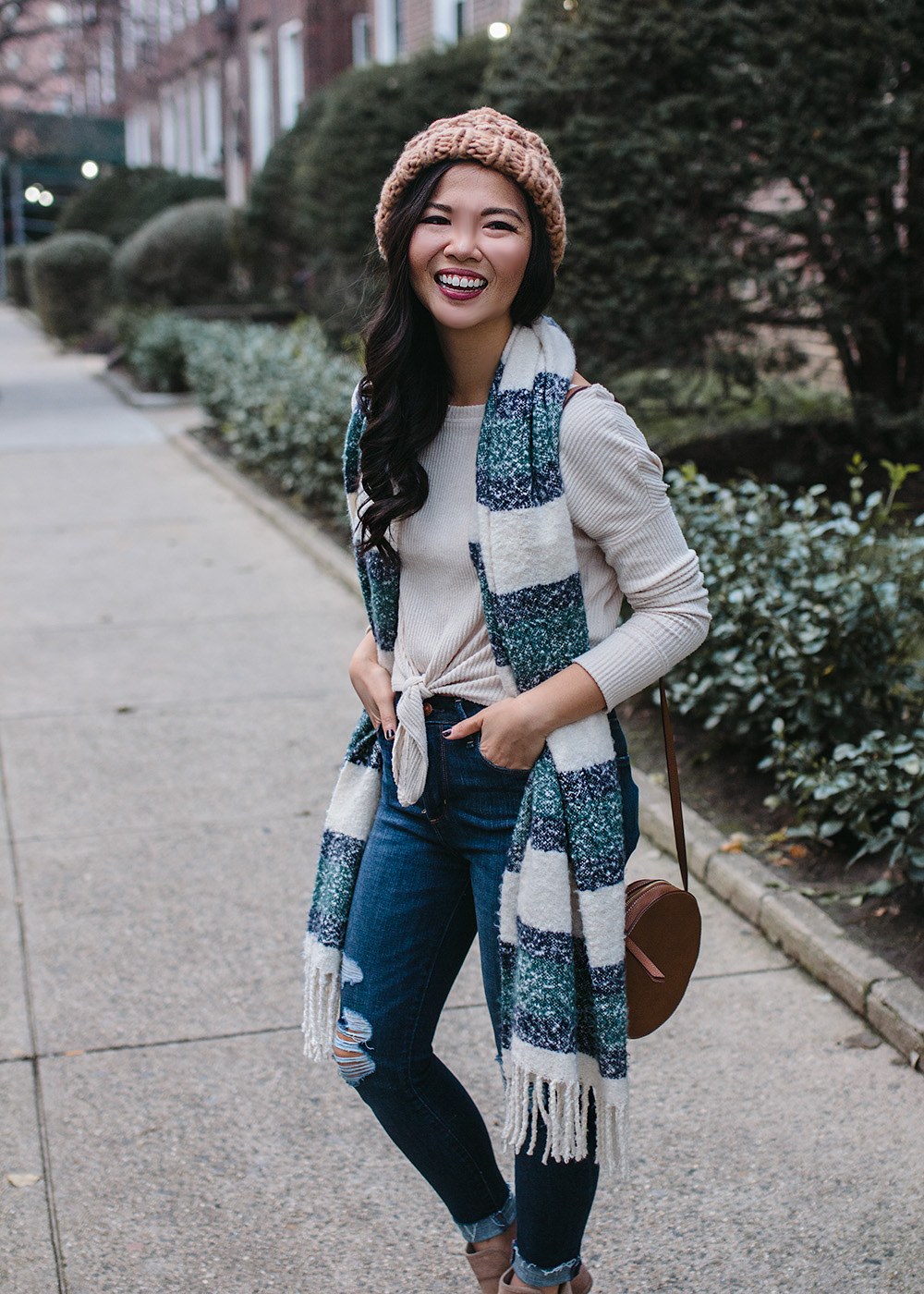 #AbercrombieStyle / Striped Scarf & Chunky Beanie