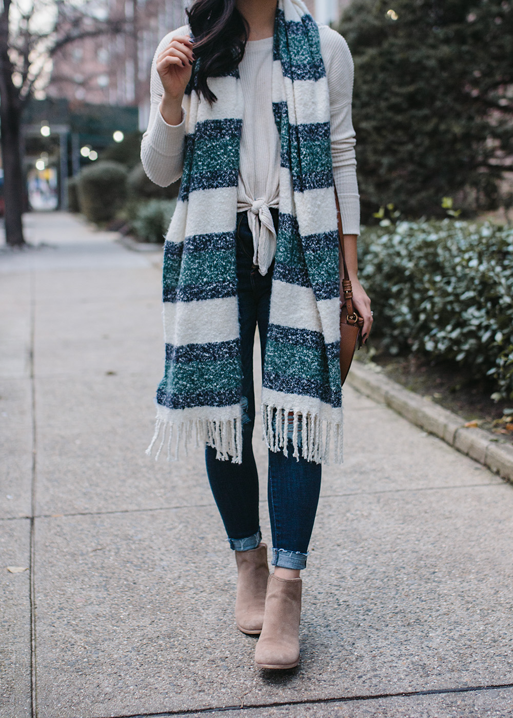 Winter Outfit Idea / Green & Navy Stripe Scarf