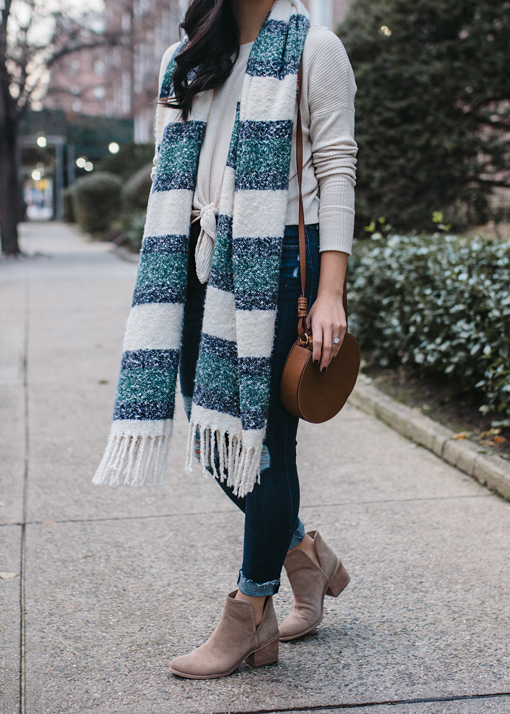 Casual Winter Outfit / Stripe Scarf Skinny Jeans & Ankle Booties
