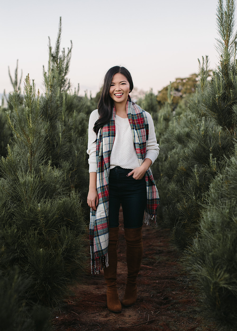 Winter Style / Red Plaid Scarf & V Neck Sweater