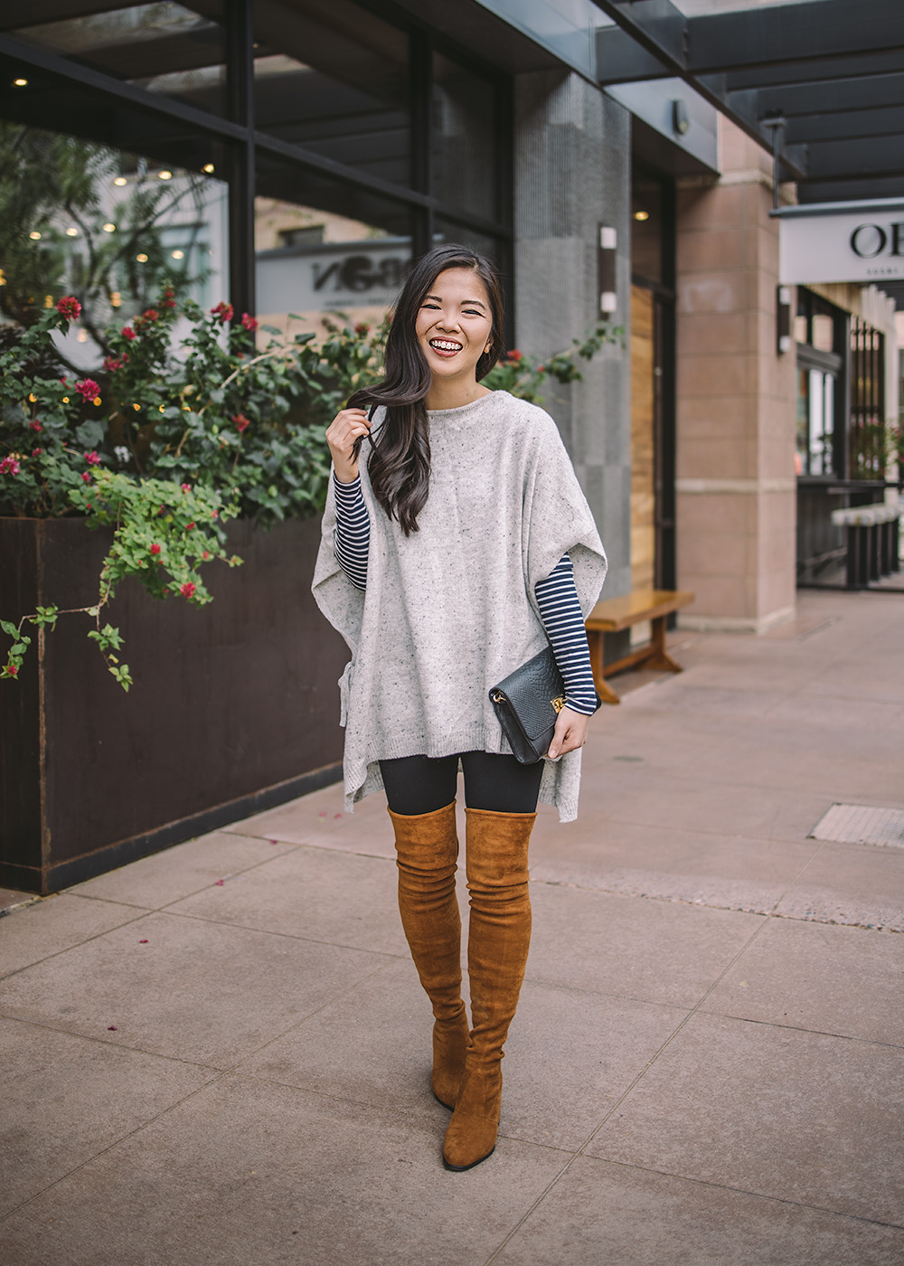 Casual Outfit Inspiration / Poncho & Over the Knee Boots