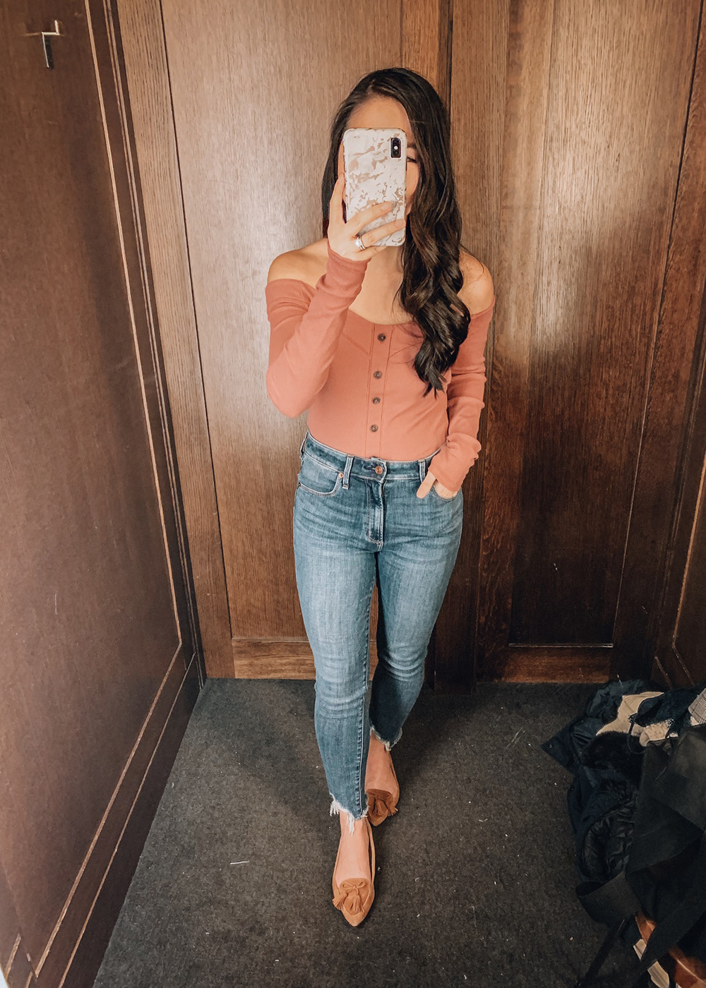 Over the Shoulder Button Up Top