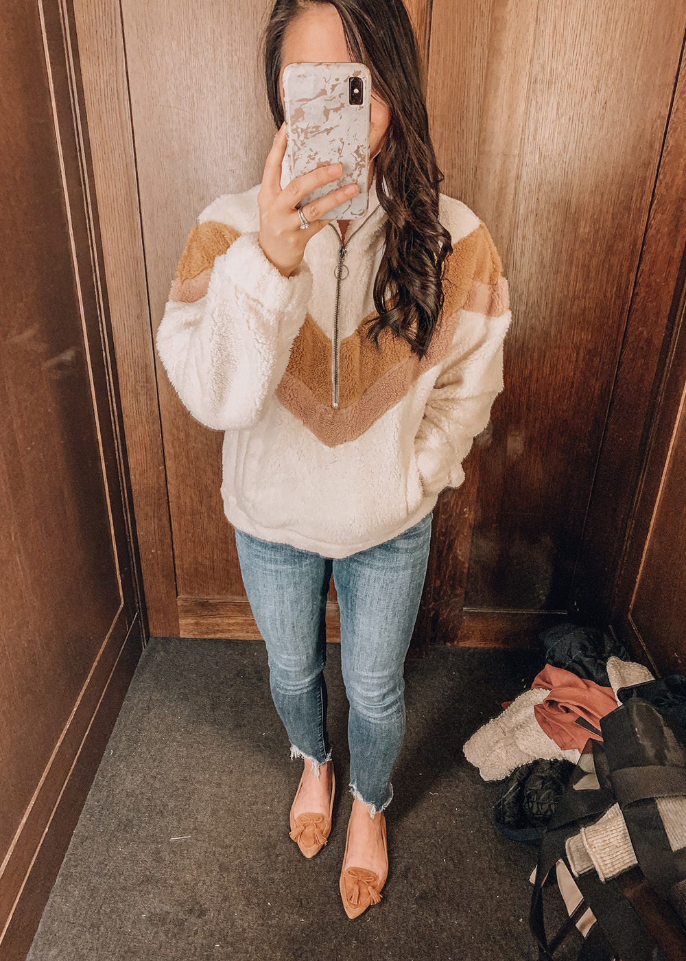 Casual Outfit Idea / Colorblock Sherpa Pullover