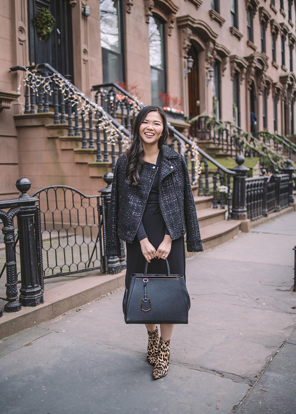 What to Wear to Work / Tweed Moto Jacket & Black Wrap Dress