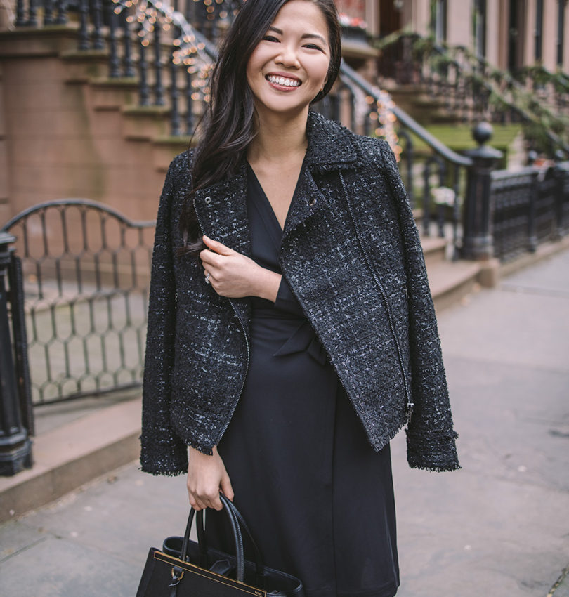 What to Wear to Work / Tweed Moto Jacket & Black Wrap Dress