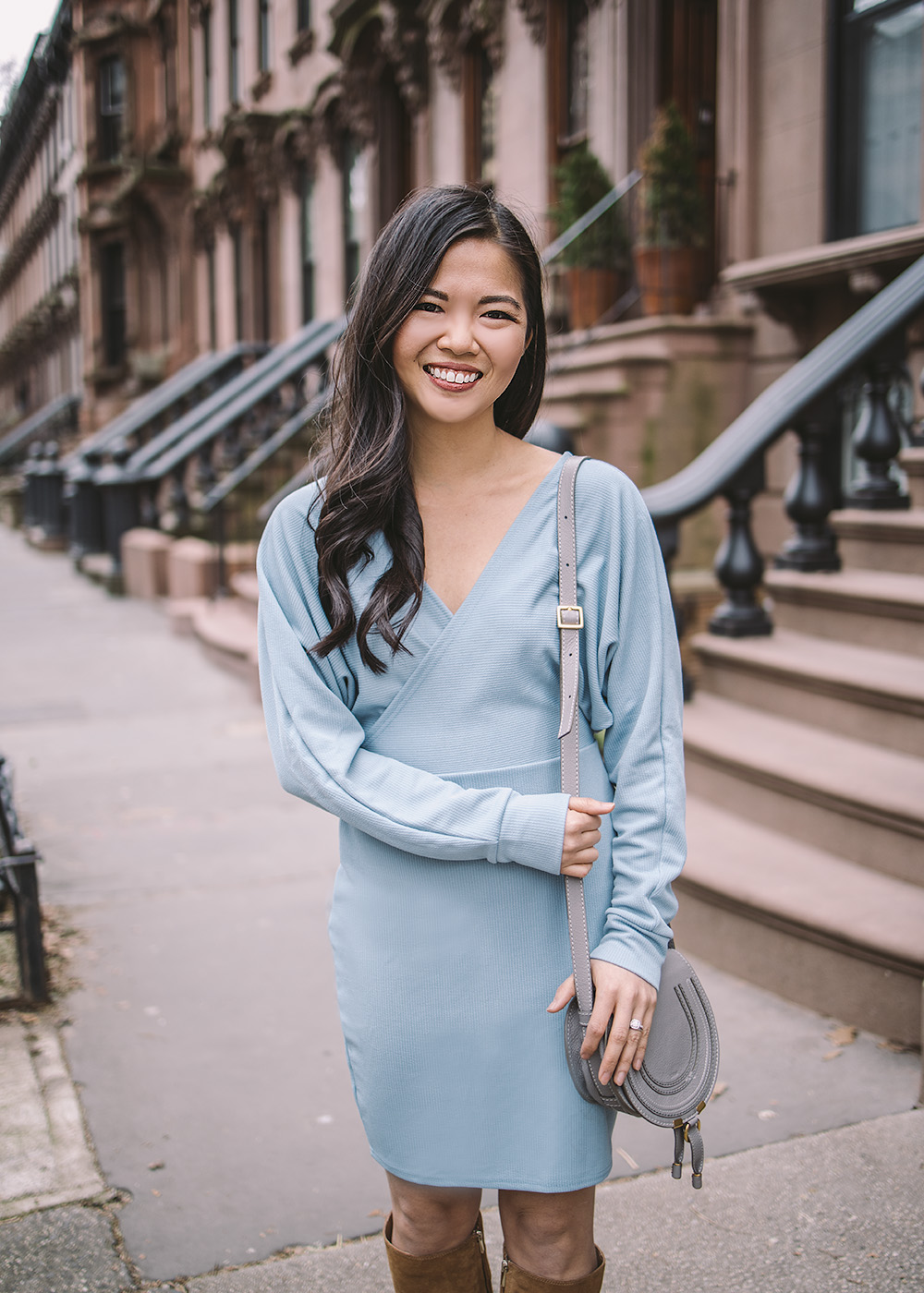 Spring Transitional Style / Blue Wrap Sweater Dress & Knee High Suede Boots