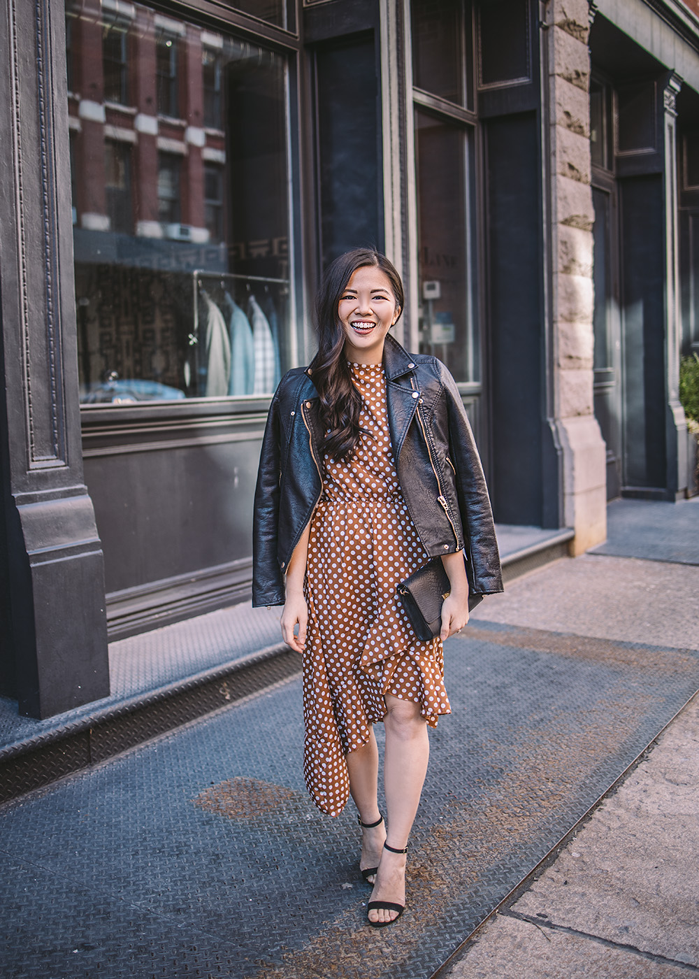 Date Night Outfit Ideas / Polka Dot Dress & Moto Jacket