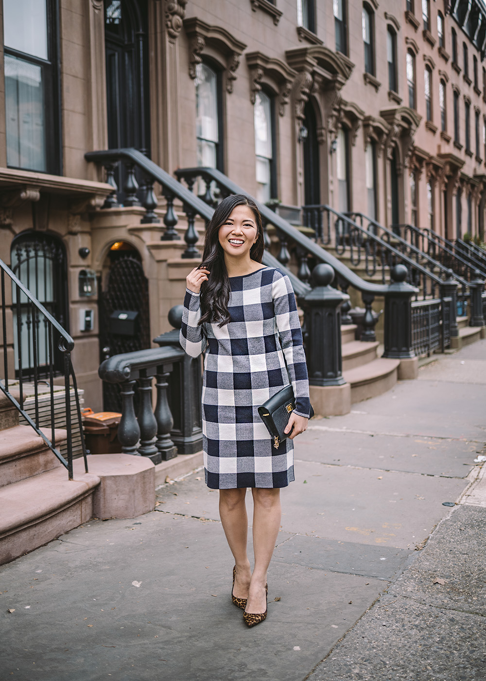 Winter Work Outfit / Buffalo Check Long Sleeve Dress