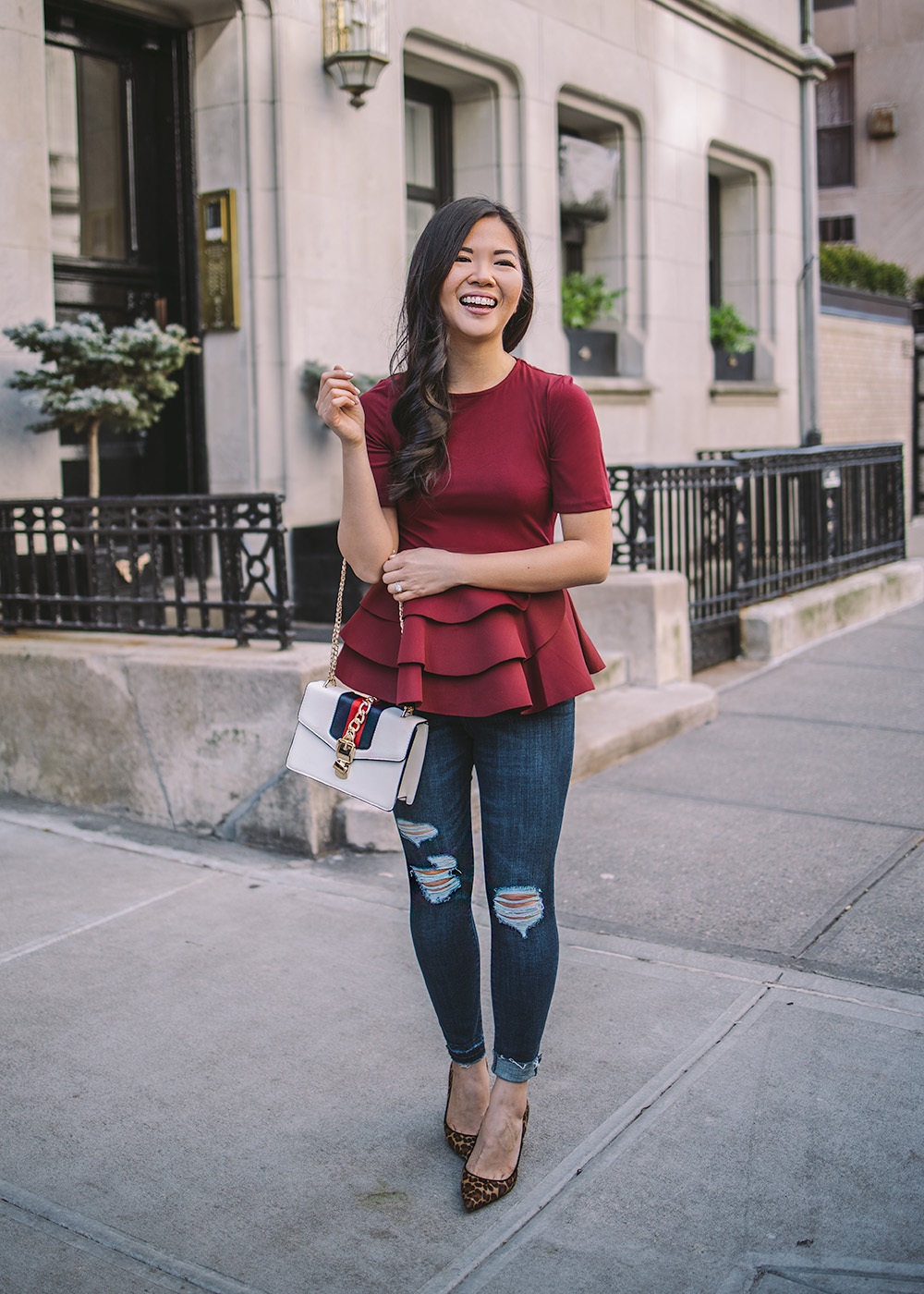 Date Night Outfit Idea / Peplum Top & Ripped Skinny Jeans