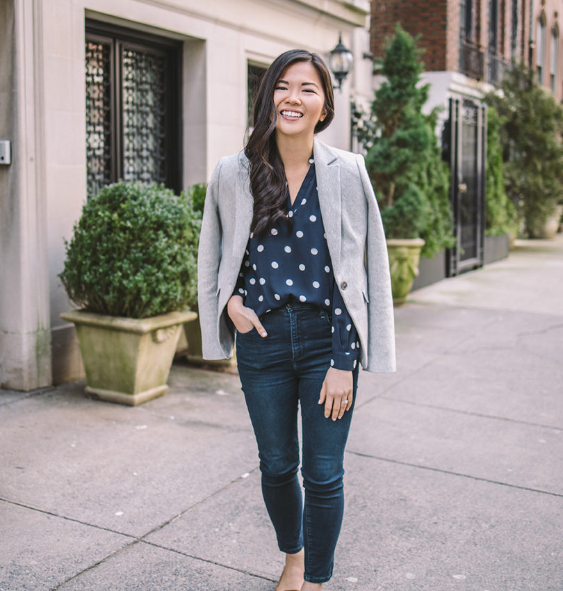 Business Casual Work Outfit Idea / Grey Blazer & Polka Dot Blouse