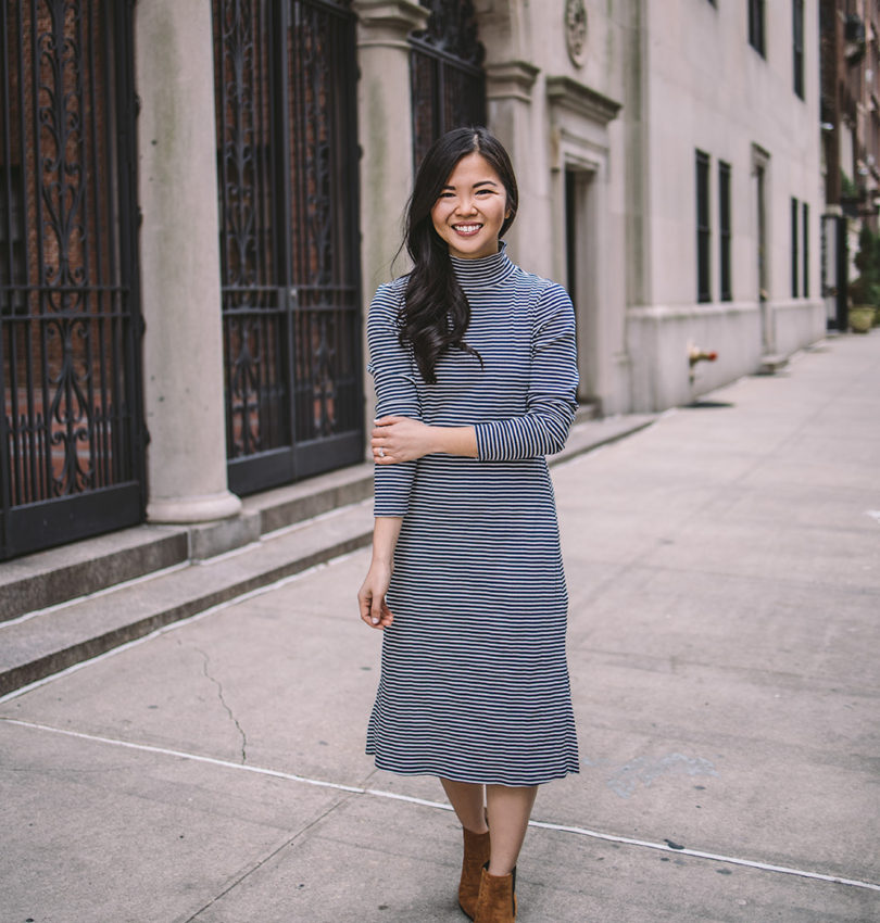Transitional Style / Striped Midi Dress
