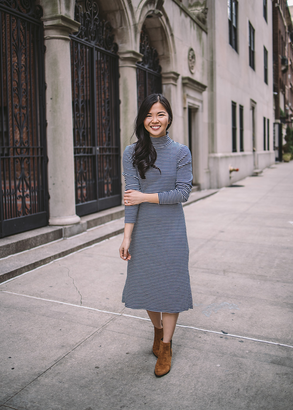 Transitional Style / Striped Midi Dress