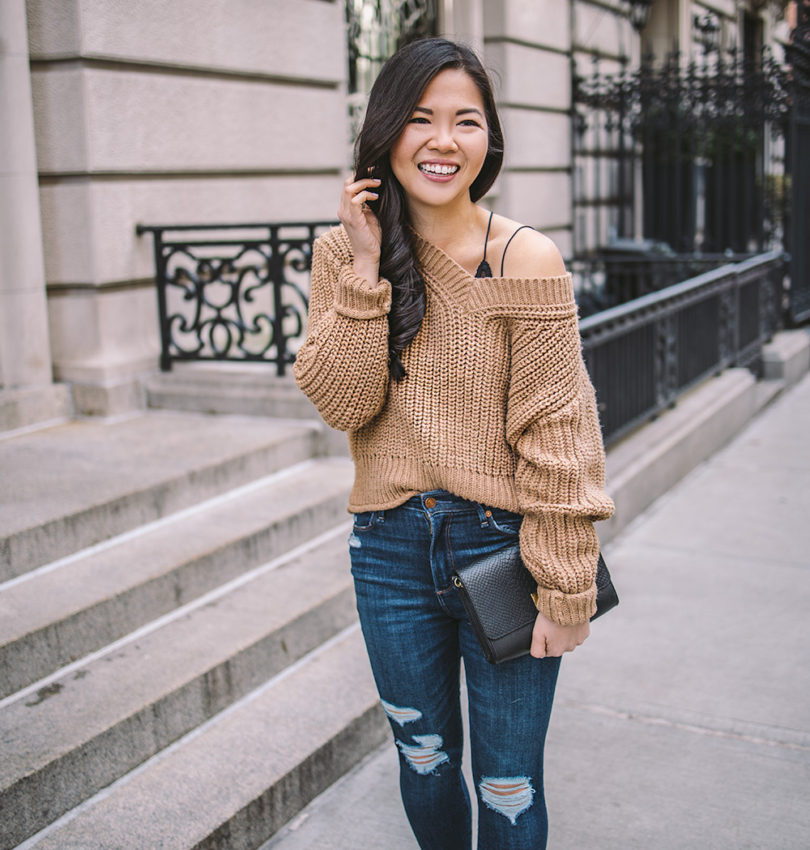 Neutral Winter Outfit / Camel Chunky Knit Sweater