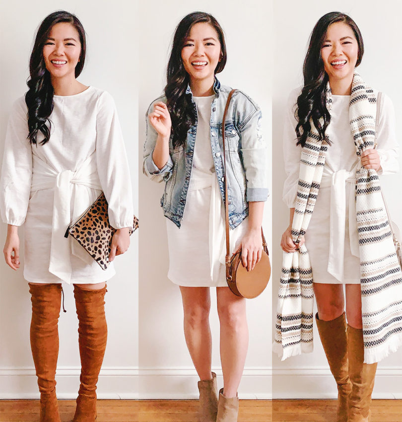 Three Wears to Transition from Winter to Spring with a White Dress