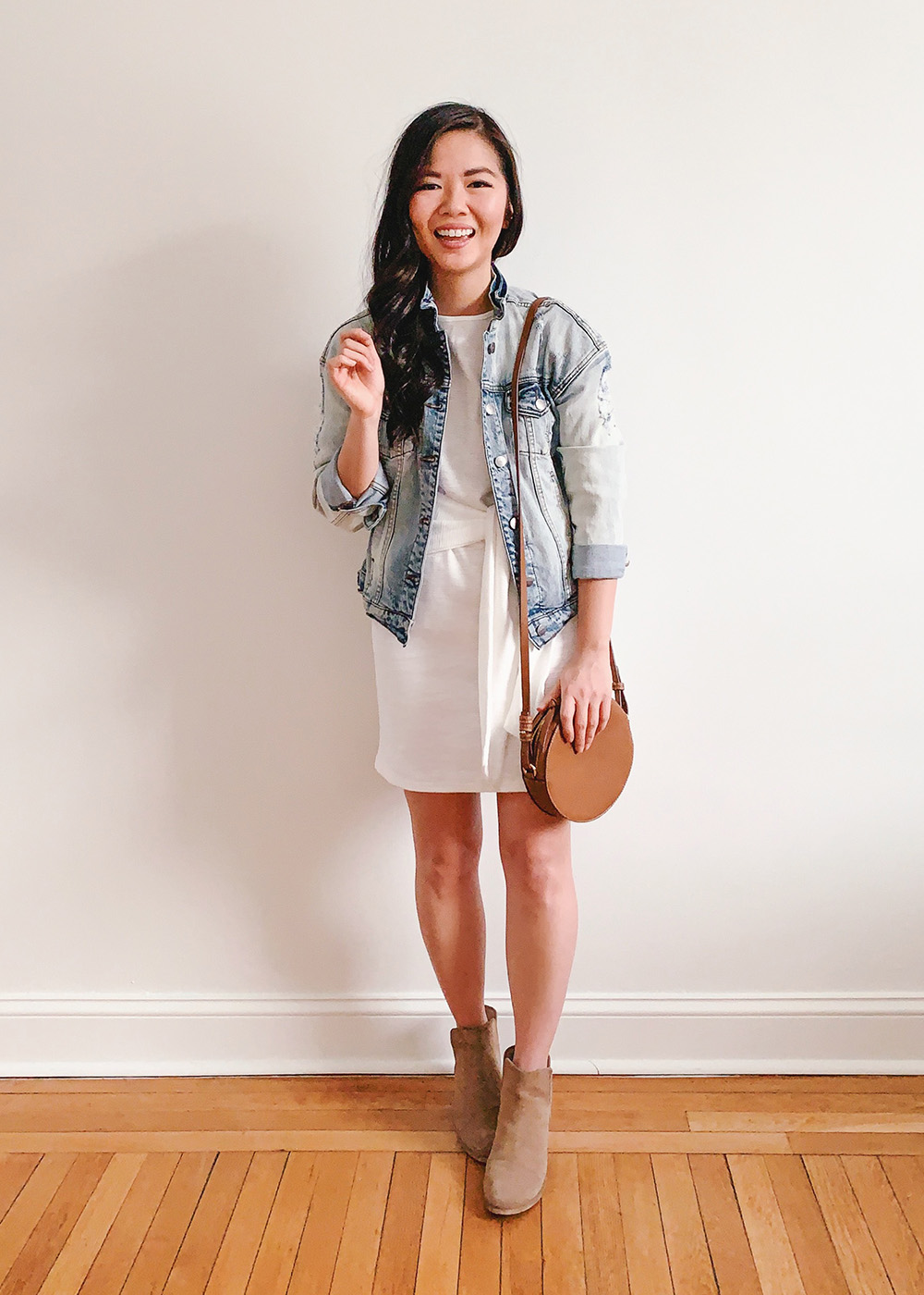 Casual Spring Outfit / White Tie Front Dress & Jean Jacket