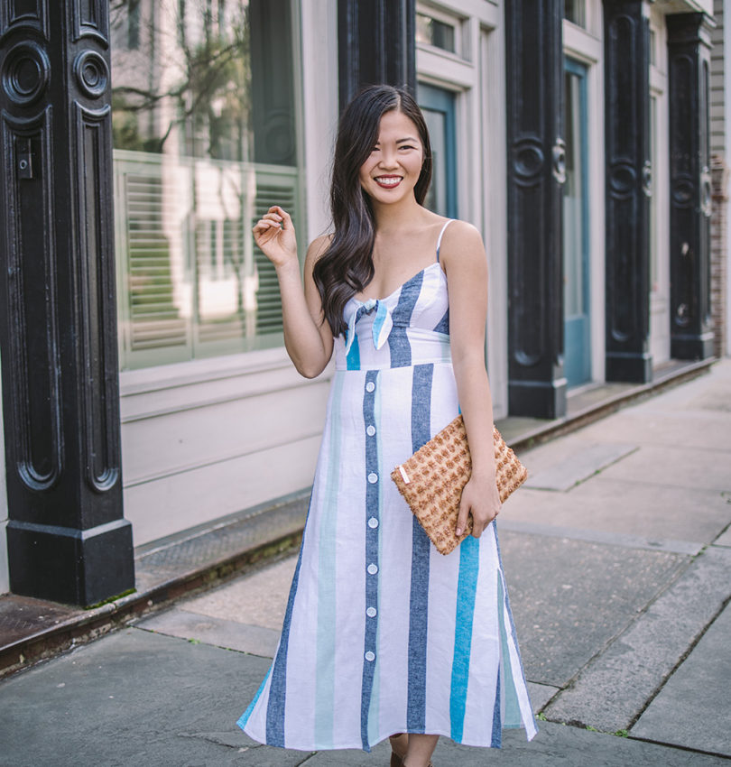Summer Dresses / Blue & White Striped Linen Dress