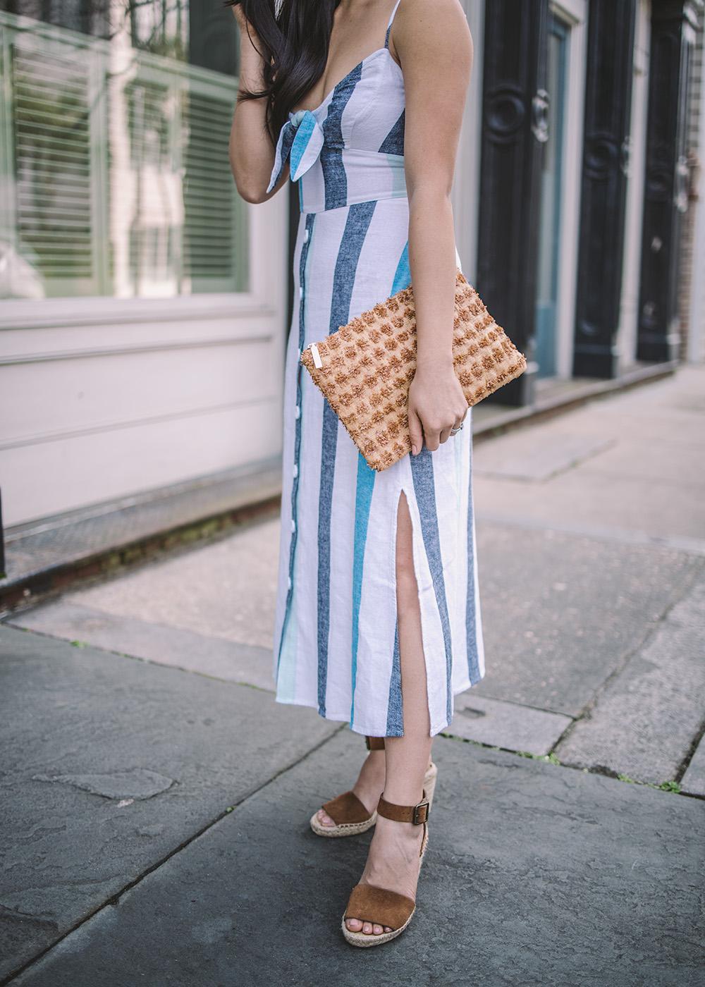 Summer Dresses / Blue & White Striped Linen Dress