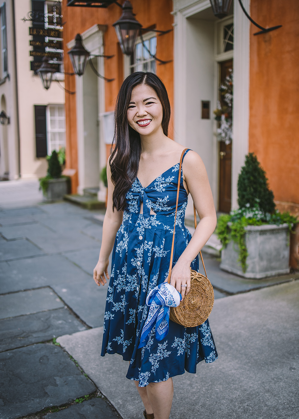 Spring Outfit Ideas / Floral Tie Front Dress & Straw Circle Bag
