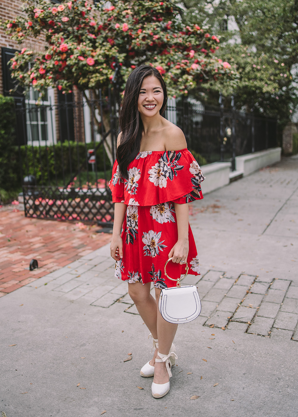 bee922b8bc7 Red Floral Off the Shoulder Dress - Skirt The Rules