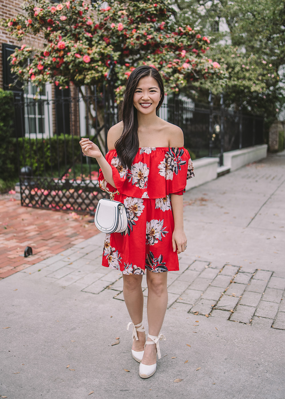 Spring Style / Red Floral Dress